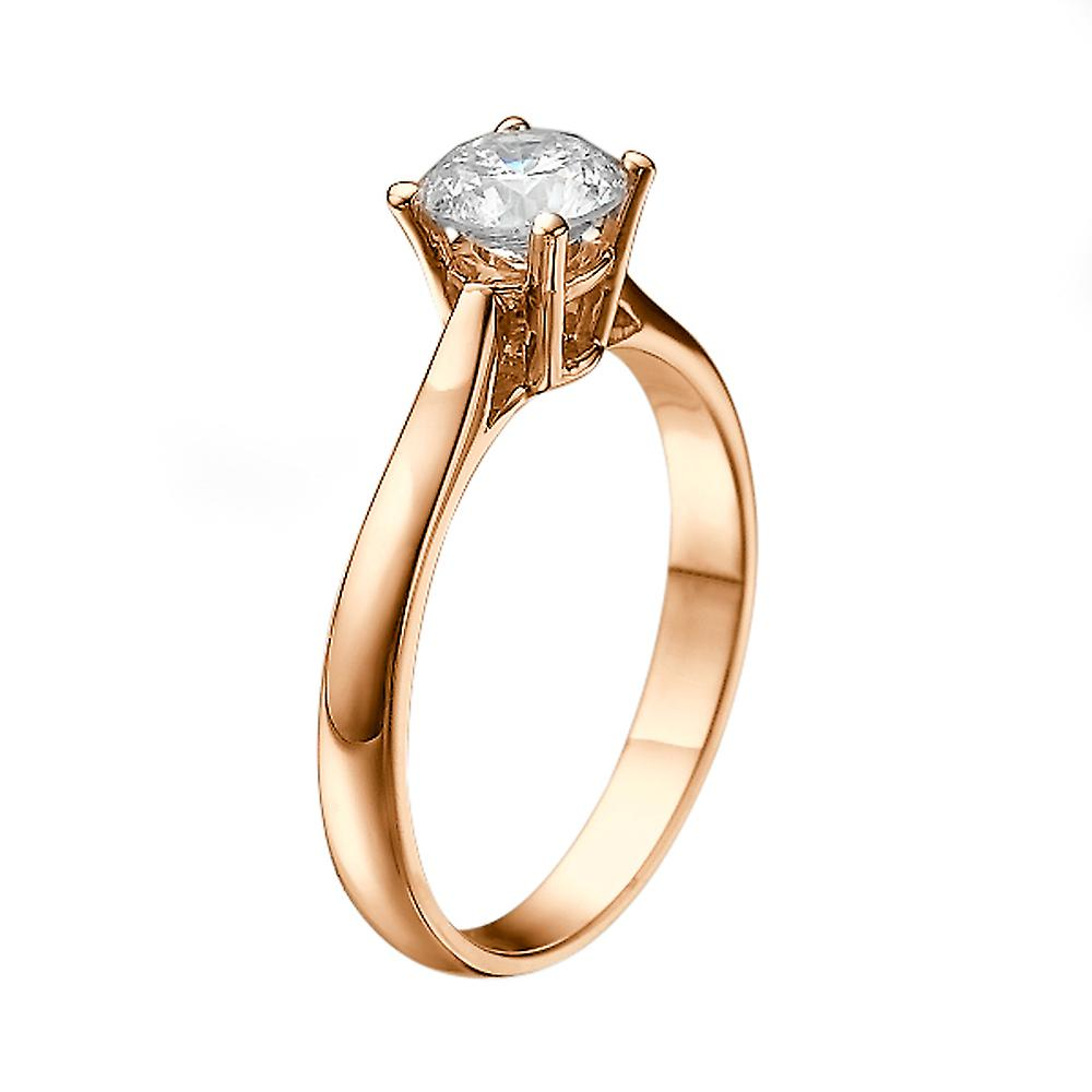 0.9 Carat H VS2 Diamond Engagement Ring 14K Rose Gold Solitaire Classic Round