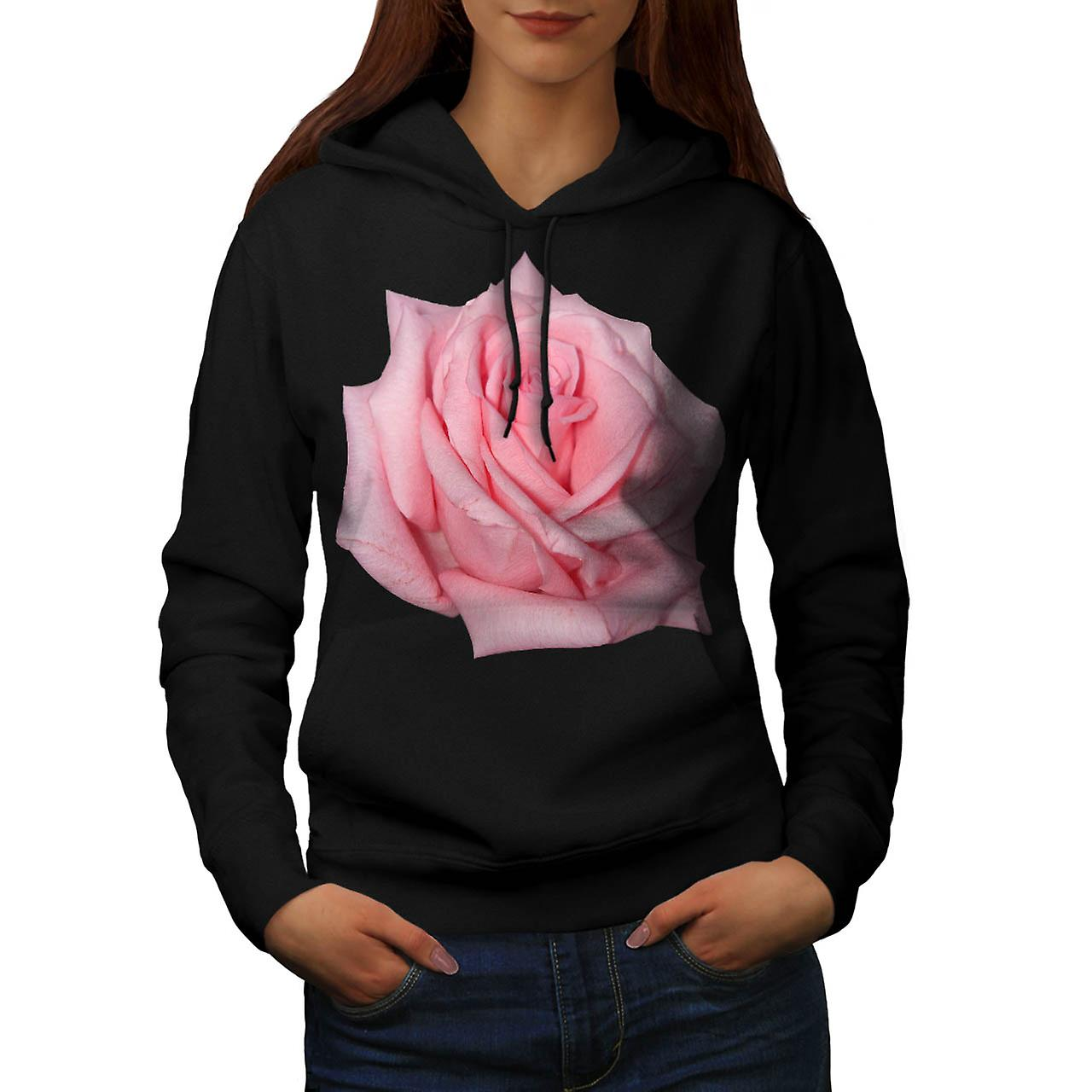 Pink Rose Romantic Flower Power Women Black Hoodie | Wellcoda