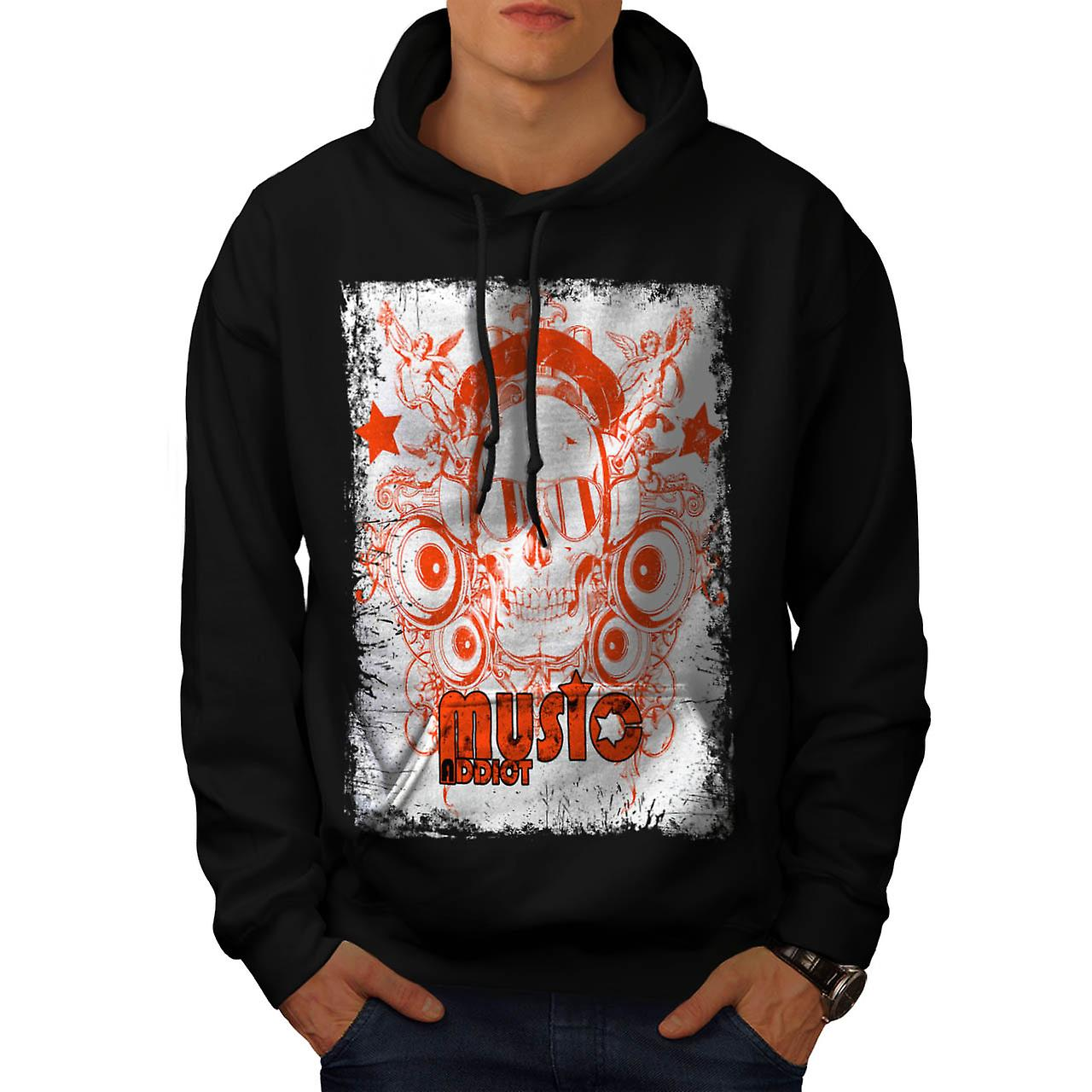 DJ Music Addict Beats Rave Skull Men Black Hoodie | Wellcoda