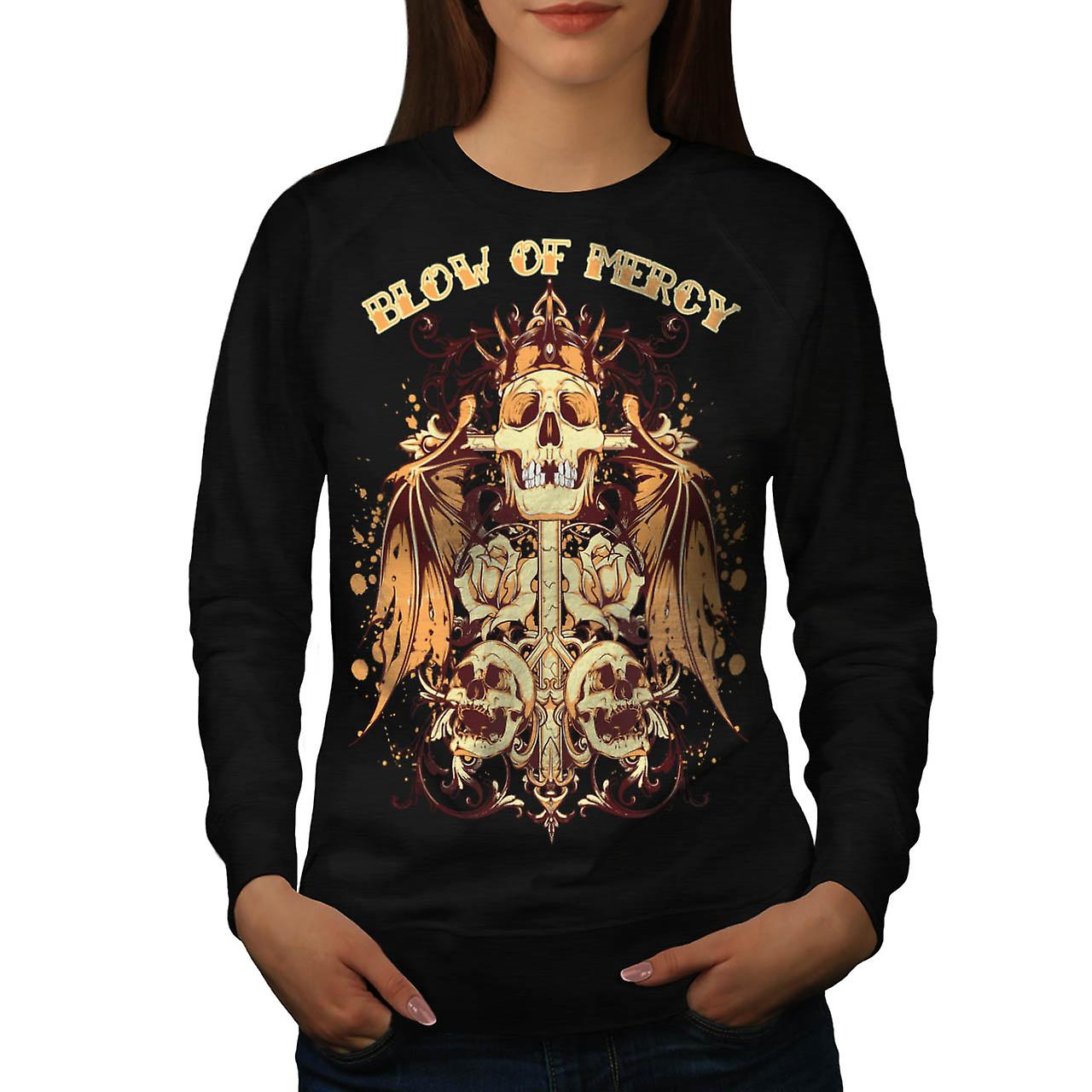 Blow Of Mercy Skull Tomb Stone Women Black Sweatshirt | Wellcoda