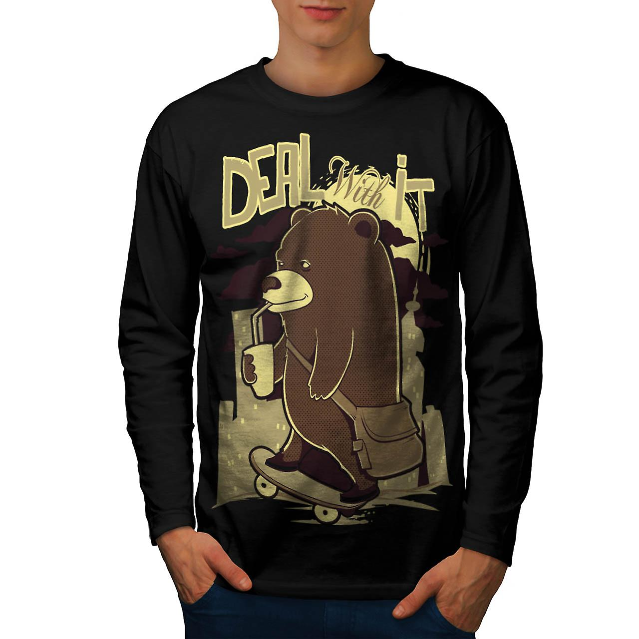 Deal With It Skater Happy Bear Men Black Long Sleeve T-shirt | Wellcoda