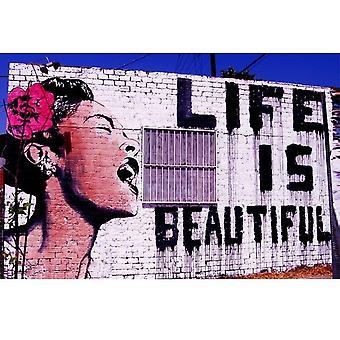 Gifts with Style Life is Beautiful Street Art Print