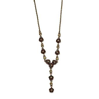 Copper-tone Lt. Colorado and Brown Crystal 15inch With Ext Y Necklace