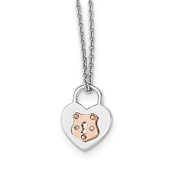 Sterling Silver White Ice Diamond Rose Gold-plated Heart Lock With 2inch Ext Necklace - 16 Inch