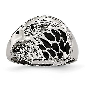 15.2mm Stainless Steel Polished Black Enameled Eagle Ring - Ring Size: 9 to 12