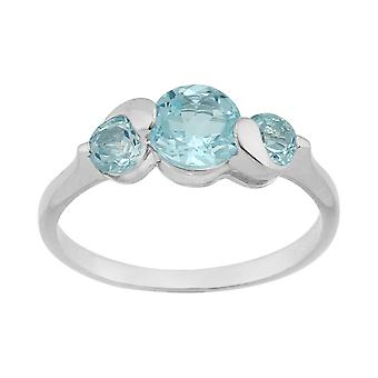 Sterling sølv 1.46ct Sky Blue Topaz tre Stone Ring