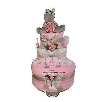 Pink baby Girl Zebra Nappy Cake (Three Tier)