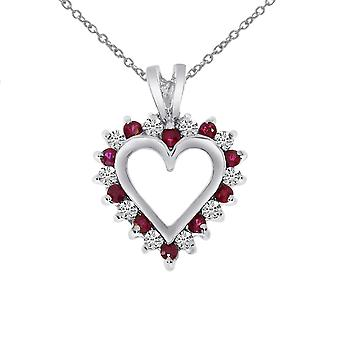 14 k witgoud Robijn en diamant Heart Shaped Pendant met 18