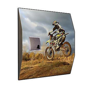 Wireless doorbell Motocross motif - V2A stainless steel wireless