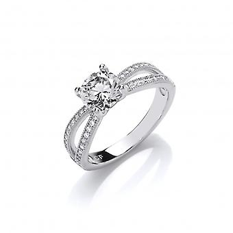 Cavendish French Silver and CZ Solitaire Ring with Twin Stone Set Band