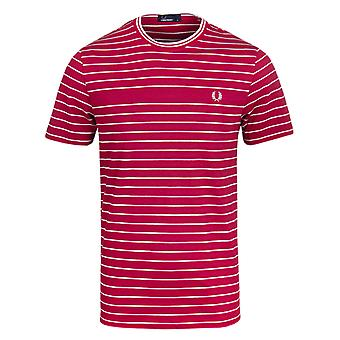 Fred Perry Claret Red Pique Stripe Crew Neck T-Shirt