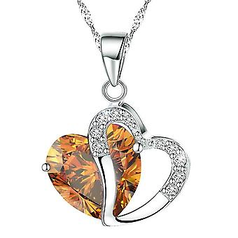 Boolavard® TM Fashion Osterreic Czech Crystal Heart Shape Pendant Necklace + Gift Box