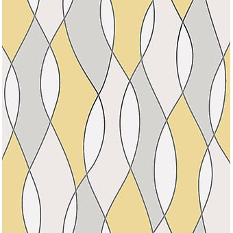 3D Effect Apex Wave Geometric Wallpaper Yellow White Metallic Silver Fine Decor