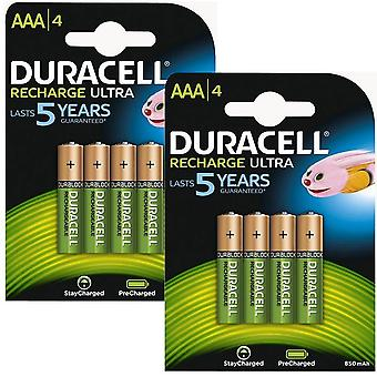 Duracell 850mAh Pre Charged Rechargeable AAA Batteries - Pack of 8