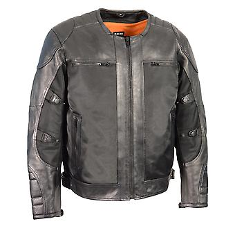 Men's Leather & Mesh Racer Jacket w/ Removable Rain Jacket Liner