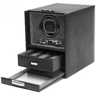 Wolf Designs Blake Black Lizard Leather Single Watch Winder