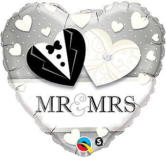 Qualatex 18 Inch Heart-Shaped Mr & Mrs Foil Wedding Foil Balloon