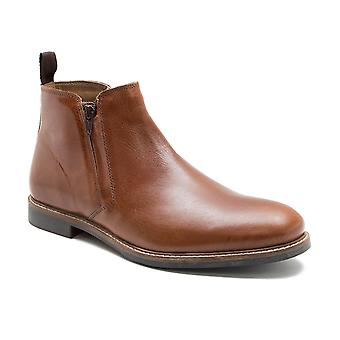 Red Tape Tabley Tan Leather Mens Zip-Up Chelsea Boots