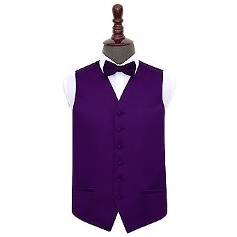 Purple Plain satijn bruiloft gilet & strikje Set