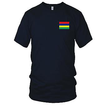 Mauritius Country National Flag - Embroidered Logo - 100% Cotton T-Shirt Mens T Shirt