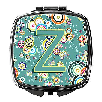 Letter Z Circle Circle Teal Initial Alphabet Compact Mirror