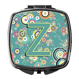 Lettre Z cercle cercle bleu sarcelle Alphabet Initial miroir Compact