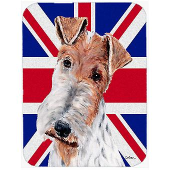 Wire Fox Terrier with English Union Jack British Flag Mouse Pad, Hot Pad or Triv