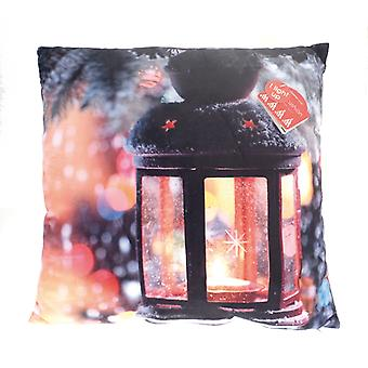 Country Club LED Christmas Cushion, Black Lantern