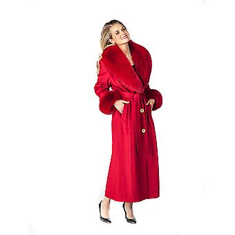 Long Cashmere Coat with Fox Fur Trim - Red Cashmere