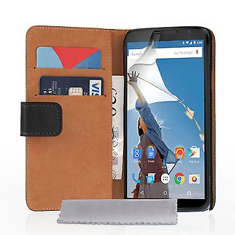 Caseflex Google Nexus 6 Real Leather Wallet Case - Black