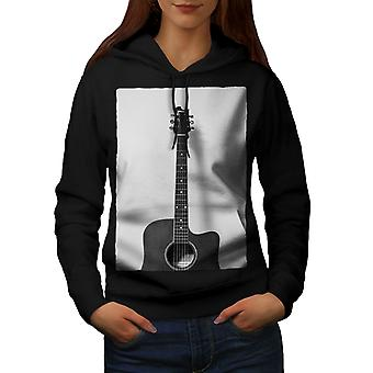 Guitar Instrument Music Women BlackHoodie | Wellcoda