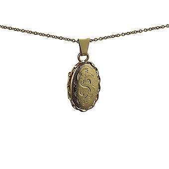 9ct goud 20x13mm hand gegraveerde ovaal twisted wire rand medaillon met een kabel ketting 20 inch