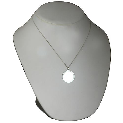 Silver 26mm round diamond cut edge Disc with a curb Chain 20 inches