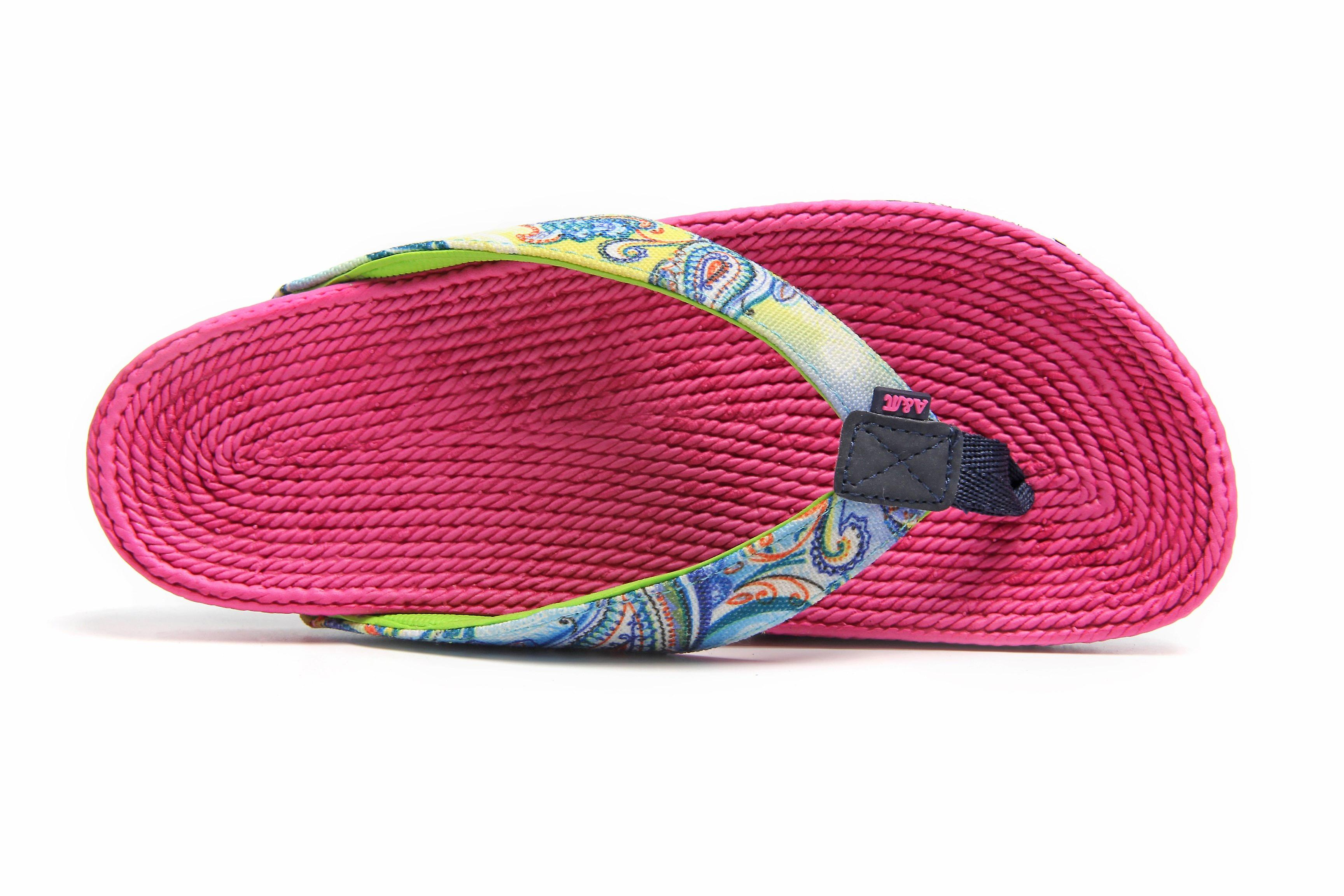 Atlantis Shoes Women Supportive Cushioned Comfortable Sandals Flip Flops Fancy Whirl Fuchsia Pink