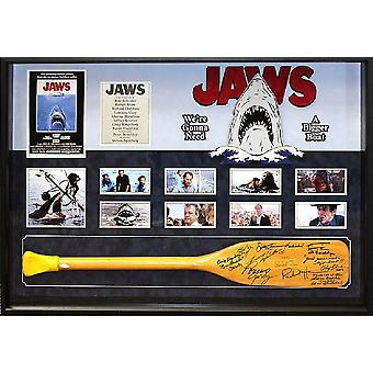 Jaws - Signed Paddle by Cast - Custom Framed Photo Collage