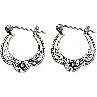 Beginnings Flower Detail Hinged Hoop Earrings - Silver/Black