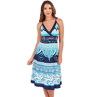 Martildo, Womens Crossover Band Summer Holiday Short Dress with Straps, Philippines Blue