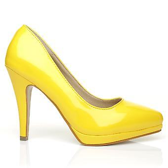 EMMA Yellow Patent PU Leather Stiletto High Heel Platform Pointed Shoes