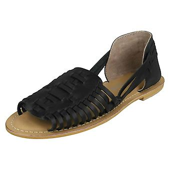 Ladies Leather Collection Flat Weave Sandals F00145 - Black Leather - UK Size 4 - EU Size 37 - US Size 6