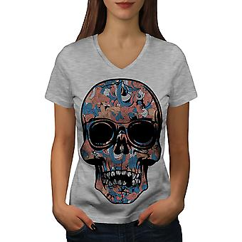 Cool Dead Hipster Skull Women GreyV-Neck T-shirt | Wellcoda