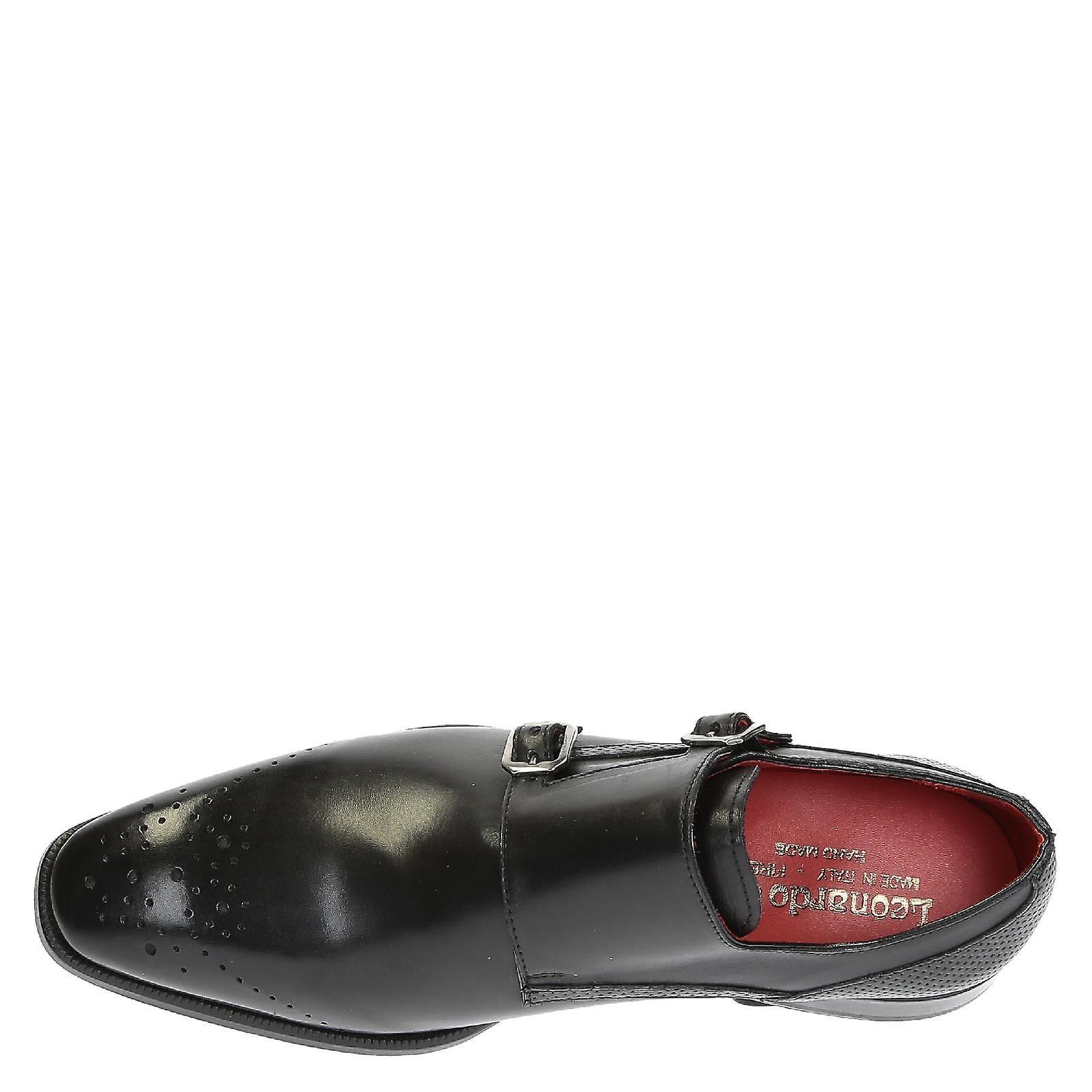Pelle nera doppio monk cinghia calzature per uomo | | | Exit  4a3e75