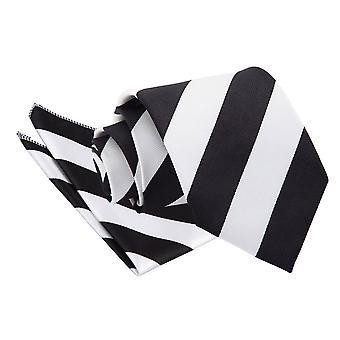 Schwarz & weiß gestreifte Krawatte & Einstecktuch Satz