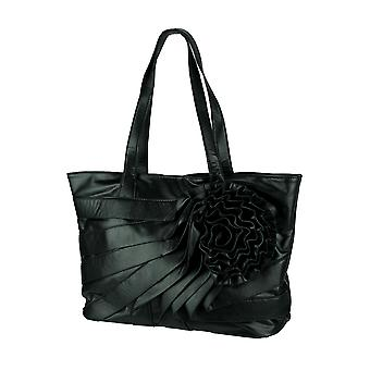 Parinda June Black Faux Leather Floral Tote Bag with Matching Wristlet