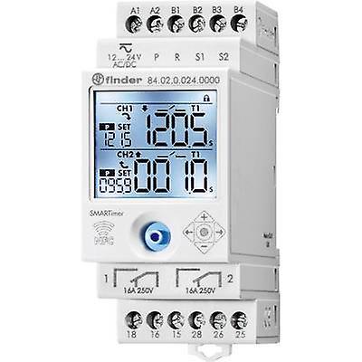 DIN rail mount timer Operating voltage  24 Vdc Finder 84.02.0.024.0000 2 change-overs 16 A 400 V AC