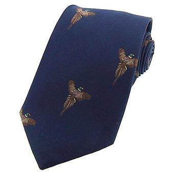 David Van Hagen Flying Pheasants Woven Country Silk Tie - Navy