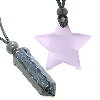 Amulets Lucky Crystal Point Magic Star Love Couples Blue Goldstone Purple Cats Eye Charms Necklaces