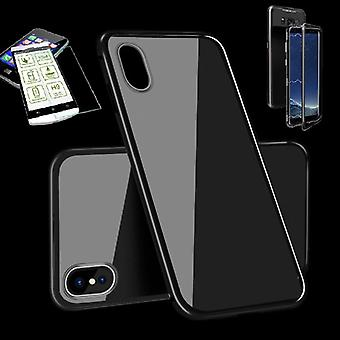 For Apple iPhone X 10 5.8 / 5.8 2018 XS magnet / metal / glass pouch case full black + 0.26 mm H9 hard glass