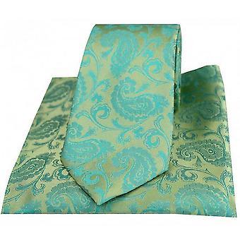 David Van Hagen Paisley vevd slips og Pocket Square Set - Jade grønn
