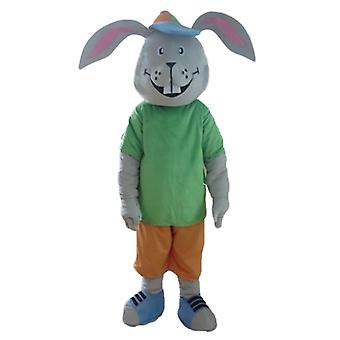 mascot SPOTSOUND of rabbit, gray, smiling, with a colorful outfit