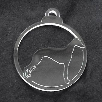 Dog Bauble Clear Acrylic Christmas Decorations 6pk - Whippet